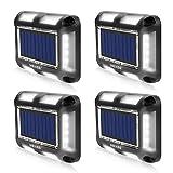MEIKEE Lámpara solar de suelo para exterior, LED, para escaleras, para terrazas, jardines, aceras, puente de madera, patio, barco, IP67 (blanco frío, 4 unidades)
