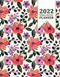 2022 Planner Weekly and Monthly: 8.5' x 11' - Jan 2022 - Dec 2022 - 12 Month Planner, Calendar, Organizer with Holidays - Large - Watercolor Hand Drawn Floral and Leaves Cover - Green, Purple & Orange
