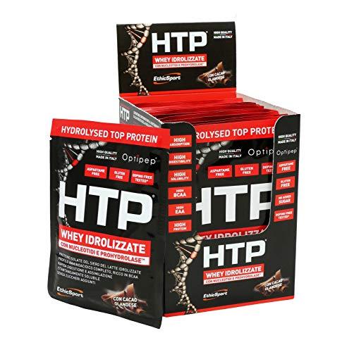 EthicSport - HTP - HYDROLYSED TOP PROTEIN - Box da 12 buste x 30 g - Gusto: Cacao - Integratore alimentare di proteine del siero del latte isolate e idrolizzate, con nucleotidi e ProHydrolase