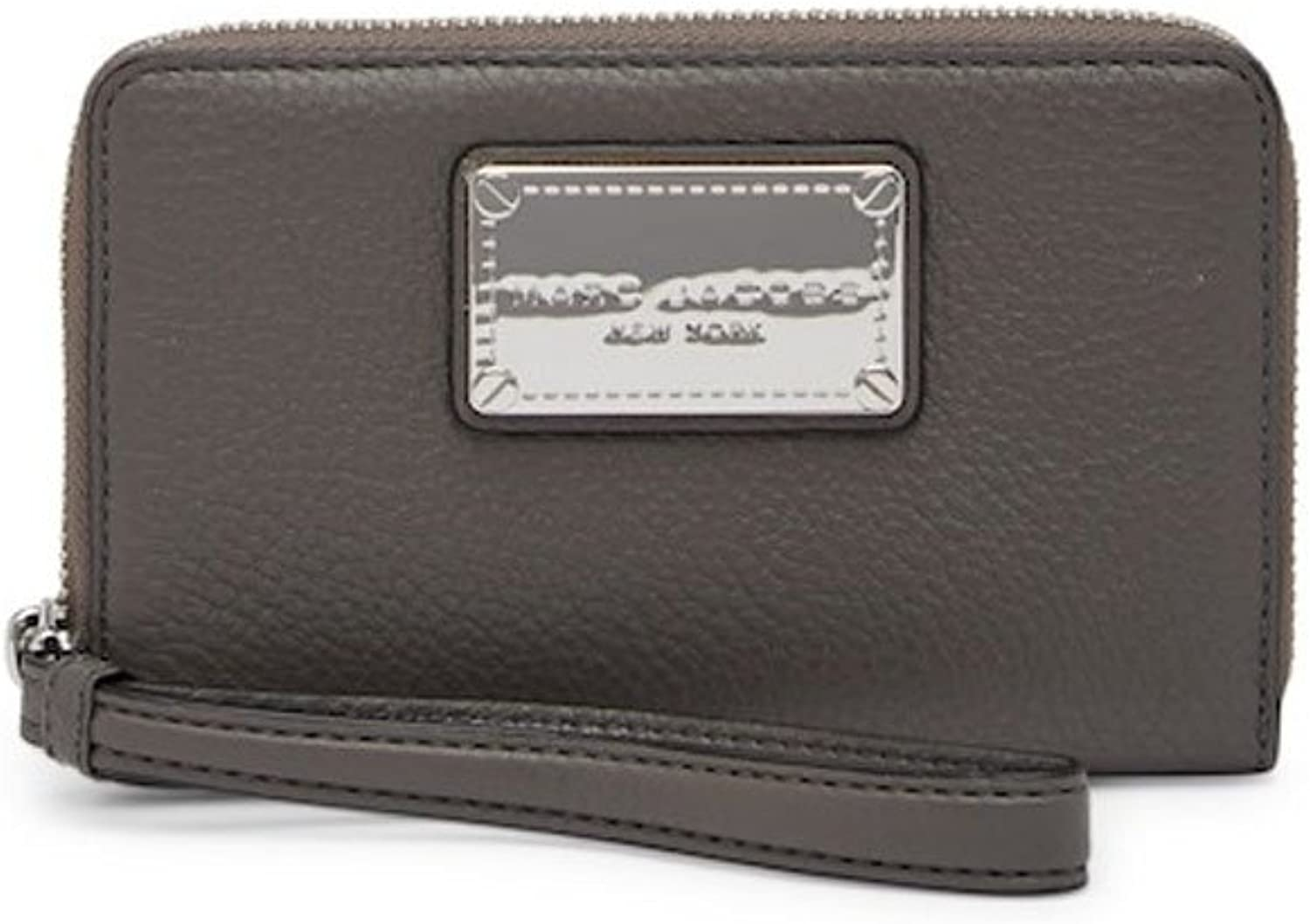 Marc Jacobs Classic Zip Leather Phone Wallet  Faded Aluminum