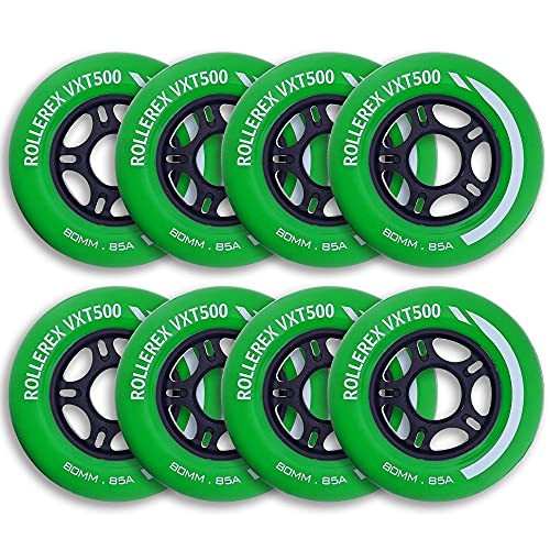 Rollerex VXT500 Inline Skate Wheels (8-Pack) (Various Size & Color Options Available) (Turf Green, 72mm) -Indoor Outdoor- Intended for Roller Blade Wheel Replacement