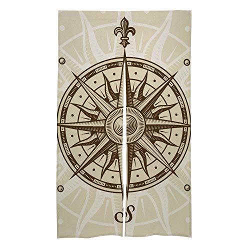 Mesllings Vintage kompas Rose Deur & Raam Gordijn Splice Huis Slaapkamer Woonkamer Slaapkamer Decor Print Drapes Home Accessoires Gordijnen - 34x56 Inch