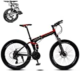 WJ Faltbare Mountain Bike 26 Zoll, 8 Sekunden Schnelles Folding MTB Fahrrad, 21 Geschwindigkeitsstahlrahmen Doppelscheibenbremse Adult Rennrad Für Off-Road Cycling-Reisen,D,26Inch