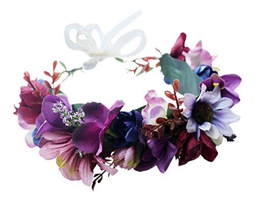 Floral Crown Headband Flower Garland Headband Hair Wreath Hair Garland Flower Halo Floral Headpiece Boho with Ribbon Wedding Party Festival Purple, One Size