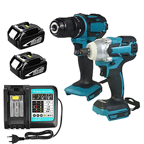 18V Combi Drill Impact Driver & Cordless Brushless Impact Driver with 2 Pack 5.5Ah Batteries and DC18RC Charger Set Compatible with Makita | Power Tool Set