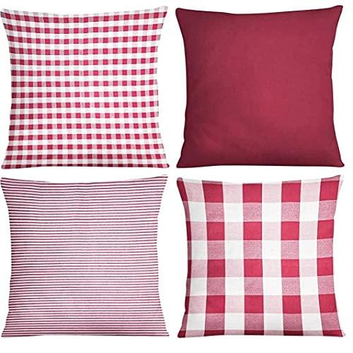 Aiyrchin Cojín Pack de 4 Throw Plaza Fundas Decorativo Europea Moderna Almohada Cubierta Sólido Decoración para el sofá del Dormitorio de 18x18 Pulgadas 45x45 cm de Doble Cara patrón de Color Rojo