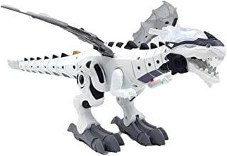 Wenjuan Electronic Walking Spray Dinosaur Toys - Fire Spray Dinosaur with Lights Eyes & Roaring Sounds & Swinging Tail Action for Kids Boys Girls Birthday Christmas Party Gifts (White)