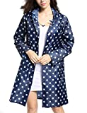 Tonfei Women's Lightweight Raincoat Waterproof Packable Rain Jacket Cute Polka Dot Hood Long Rain Coat (Blue)
