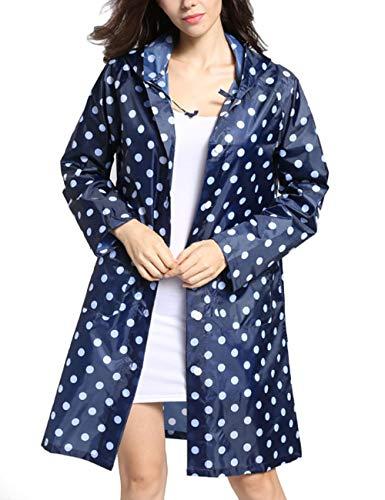 Tonfei Women's Lightweight Raincoat Waterproof Packable Rain Jacket Cute Polka Dot Hood Long Rain Coat (Blue)