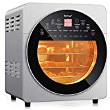 COSTWAY 15.5 QT Air Fryer Oven, 16-in-1 Convection Air Fryer with 16 Cooking Presets Rotisserie Dehydrator Roast Bake Broil, Oil-Free Countertop Oven with Timer Temperature Control and 8 Accessories (Sliver)