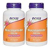 2本 ナイアシンアミド Vitamin B-3 500mg 100粒 Naicinamide Now foods ナウフーズ [並行輸入品]
