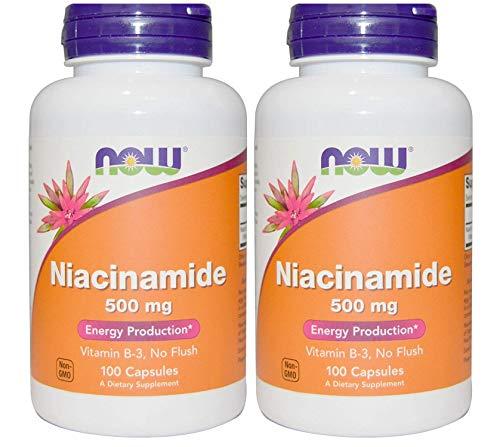 『2本 ナイアシンアミド Vitamin B-3 500mg 100粒 Naicinamide Now foods ナウフーズ [並行輸入品]』のトップ画像