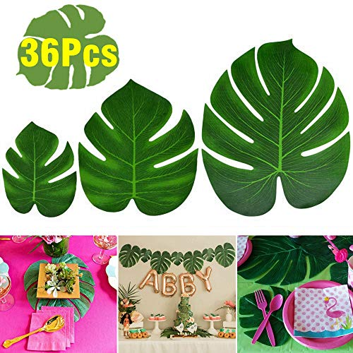 KUUQA 36 stuks Tropische palm bladeren kunstgroene Monstera plant blad voor Hawaiian Luau Aloha Party jungle thema BBQ verjaardag weeding party tafeldecoratie Levert 3 maten
