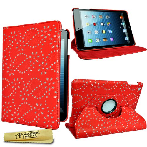 Accessory Master - Custodia in Pelle con Strass di Diamanti per Apple iPad Mini, Colore: Rosso