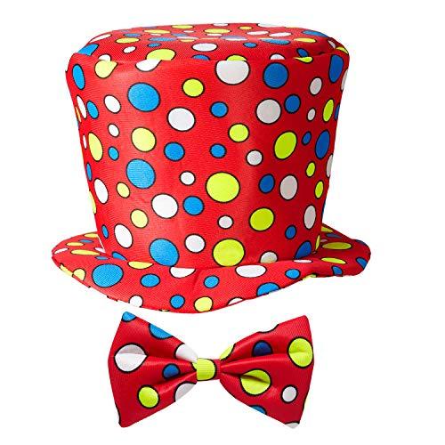 Widmann 91431 - Clown-Hut mit Fliege, 2-tlg. Set, für Kinder, Zirkus, Geburtstag, Kostüm, Accessoire, Mottoparty, Karneval