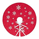 MACTING Countryside Burlap Tree Skirt Christmas 30 Inch White Snowflake Printed Xmas New Year Holiday Decorations Indoor Outdoor