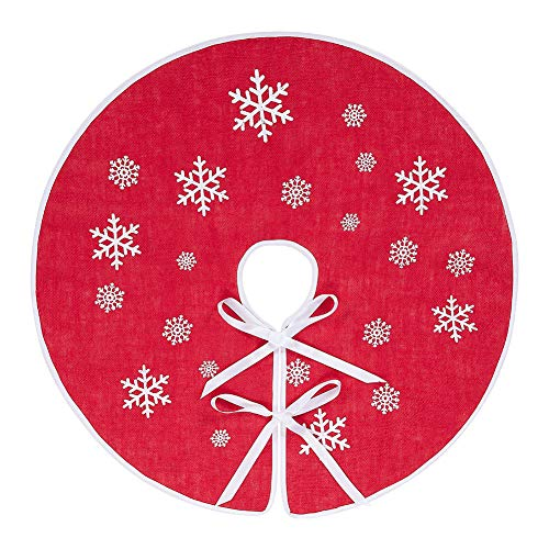 MACTING Burlap Tree Skirt, 36 Inches Red Christmas Countryside Tree Skirt with White Snowflake Printed for Xmas, New Year, Holiday Indoor Outdoor Decoration