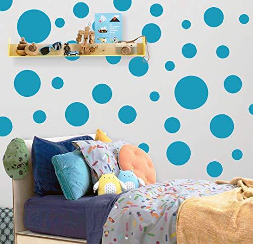 Polka Dot Wall Decals (63) Girls Room Wall Decor Stickers, Wall Dots, Vinyl Circle Peel & Stick DIY Bedroom, Playroom, Kids Room, Baby Nursery Toddler to Teen Bedroom Decoration Gift 3'-6.5' (Teal)
