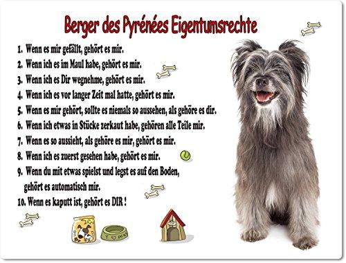 Merchandise for Fans Blechschild/Warnschild/Türschild - Aluminium - 15x20cm Eigentumsrechte Motiv: Berger-des-Pyrenées (01)