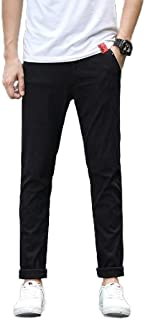 Comaba Men's Solid-Colored With Zip Luxury Thin Leisure Comfort Pocketed Casual Pants