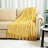 SheSpire Knitted Throw Blanket Bed Throws Knit Blanket Acrylic Decorative Throw Blanket for Couch Bed - 50''x60'', Mustard Wave