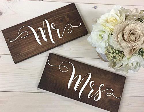 43LenaJon Señor y señora Señor Presidente, cartel de mesa de boda, letrero de madera decoración para jardín, etiqueta de bienvenida personalizada