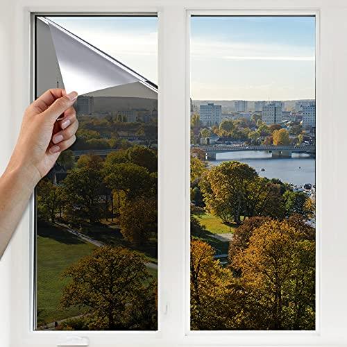 YINFEI Pellicola Specchio per Vetri Finestre Autoadesiva Pellicola per Finestre Vetri Pellicola Specchio Anti-UV, Utilizzata Nella Pellicola Oscurante per Privacy Degli Uffici Domestici(Argento)
