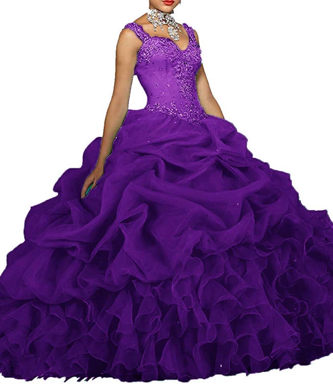 XSWPL Women's Straps Bead Pearls Sheer Back Ball Gown Quinceanera Dress