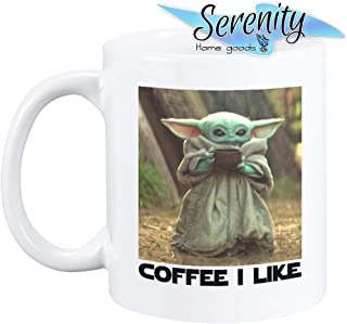 Baby Yoda Coffee I Like The Child Mug by Serenity Home Goods | Mandalorian Star Wars Coffee Cup 11 ounce ceramic cup gift