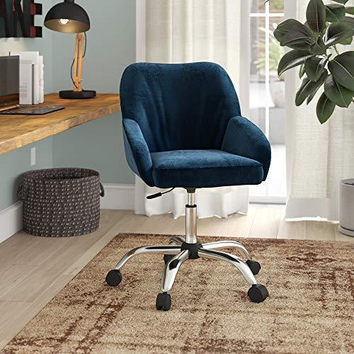 BELLEZE Office Chair Adjustable Swivel Mid-Back Desk Chair Task Velvet Seat Backrest Support, Blue