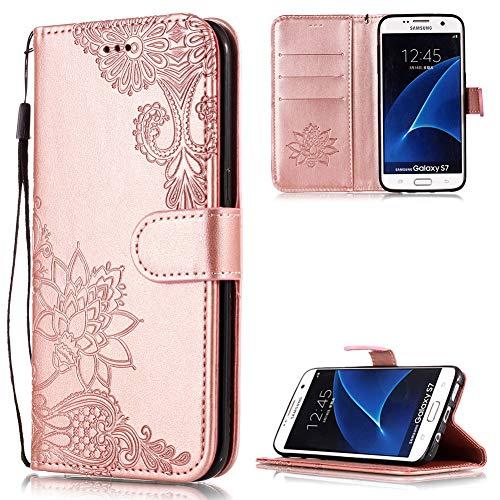 Handyhülle für Galaxy S7 Edge Leder,Galaxy S7 Edge Hülle,FNBK Flip Wallet Stand Card Tasche Karteneinschub Magnetverschluß Kratzfestes Rosegold Schutzhülle Kompatibel mit Hülle Samsung Galaxy S7 Edge