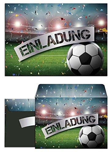 JuNa-Experten 12 Einladungskarten incl. 12 Umschläge zum Kindergeburtstag Fußball Fussball Party / Einladungen zum Geburtstag (12 Karten + 12 Umschläge)