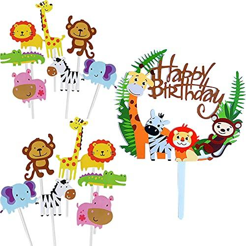 Adornos para tartas de zoológico,animales de decoración para tartas,adornos para tartas de cumpleaños para,suministros para fiestas de cumpleaños,decoración para magdalenas,de feliz cumpleaños