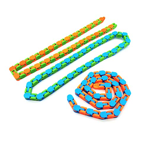 LINMAN 3 unids Funny Fidget Cadena Anti estrés Juguete para niños niños Adultos Cadena de Bicicleta Fidget Spinner Pulsera Snake Puzzle educatiaonal Juguete (Color : 3pcs 48 Wacky)