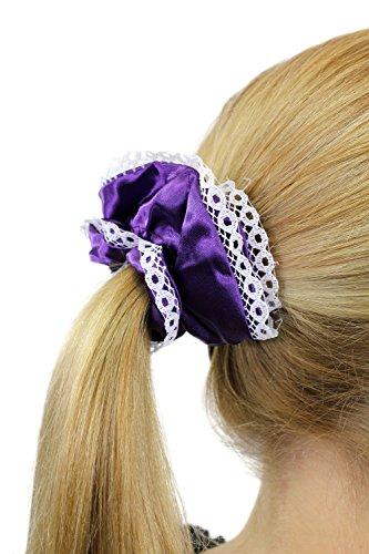 Chouchou élastique, style femme de chambre / femme de ménage / Lolita gothique, couleur violet aux bordures blanches Z018