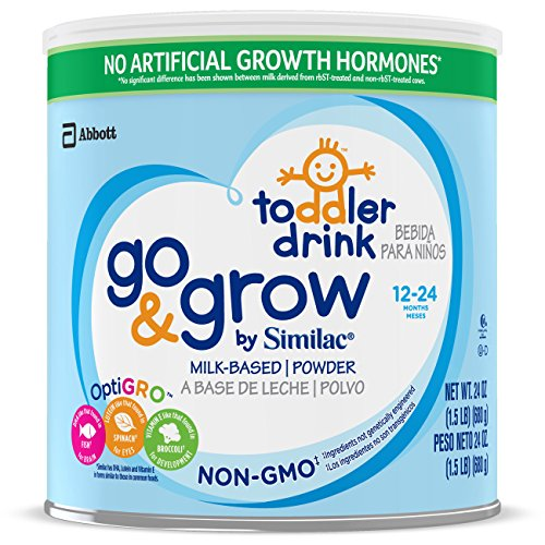 Go & Grow By Similac Non-GMO Milk Based Toddler Drink, Large Size Powder, 24 oz (Pack of 6)