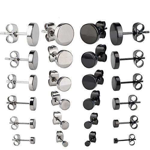 12 paar oorbellen van roestvrij staal, uniseks oorstekers, rond, zwart, voor heren en dames, kleine zilveren oorbellen, elegant cadeau (2 maten 3 – 8 mm)
