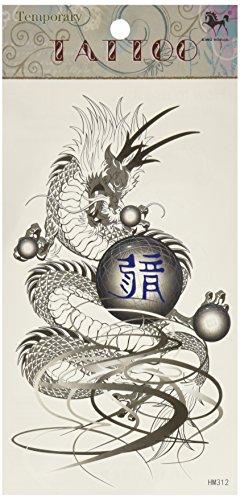King Horse tatouage autocollant imperméable à l'eau noire de tatouage de dragon