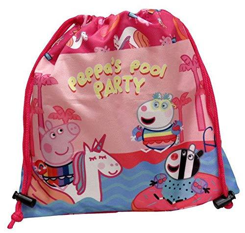 PEPPA PIG Saco de merienda Bolsa de Gimnasio Fitness y Ejercicio Infantil, Juventud Unisex, Multicolor (Multicolor), Talla Única