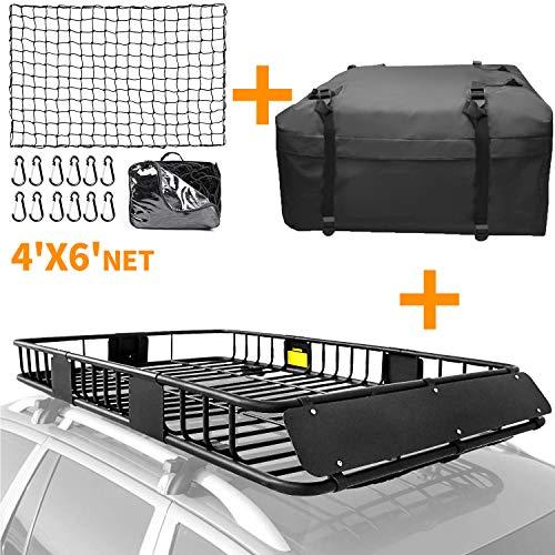 XCAR Roof Rack Basket Rooftop Cargo Carrier + 4' x 6' Cargo Net + Cargo Carrier Bag 15 Cubic ft