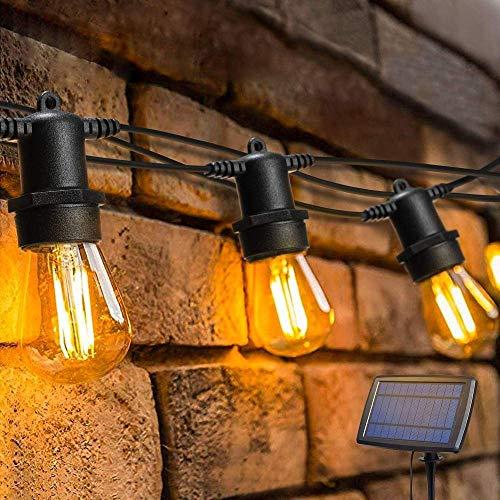 Cadena de luz solar para jardín al aire libre, impermeable, bombillas a prueba de roturas adecuadas para el patio trasero, fiesta, boda, Navidad, cálido