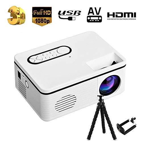 Mini Proyector - 2000 Lúmenes Portátil Full HD 1080P Soporta Proyectores Cine en Casa con Audio Hi-Fi Pantalla 100