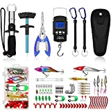 Fishing Tool Kit Includeds Fishing Pliers with Sheath, Fish Hook Remover Tool, Fish Lip Gripper,Digital Fish Scale,2 Fishing Lanyards and Fishing Lures,Fishing Gear Kit for Fishmen,fishing accessories