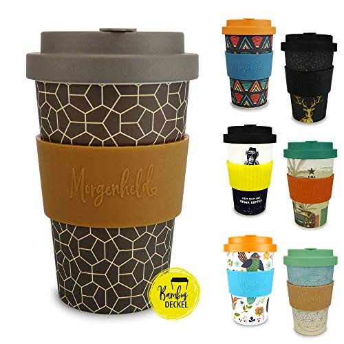 Morgenheld Dein trendiger Bambusbecher | Coffee-to-Go-Becher | Kaffeebecher mit Schraubdeckel und Banderole in coolem Design 400 ml (Brownie)
