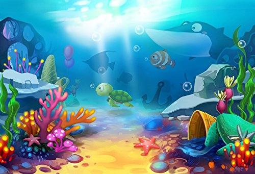 LFEEY 7x5ft Under The Sea Backdrop for Photography Baby Shower Wonderland Underwater Background Kids Children Birthday Party Decor Wallpaper Newborn Portrait Photo Booth Props