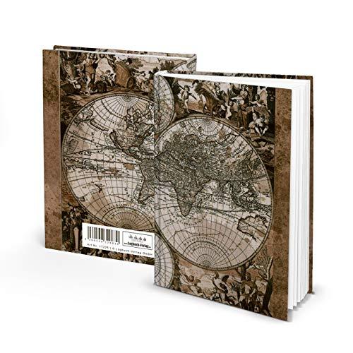 Diario de viaje pequeño y ligero, DIN A5, diseño de mapa antiguo, 136 páginas, tapa blanda, de rayas, marrón vintage, cuaderno vacío sin contenido ni líneas