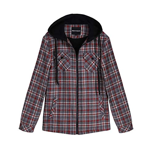 ZENTHACE Men's Sherpa Lined Full Zip Hooded Plaid Shirt Jacket Red/Grey L