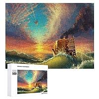 500ピース ジグソーパズル パズル 木製パズル 飾り画 風景 海 ボート 参考図付き 減圧玩具 頭脳練習 創造力 知育 子供 大人 ギフト プレゼント puzzle