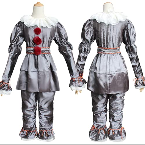 Clown Costume for Adults Cosplay suit Pennywise cosplay Halloween Costume Pennywise Clown Full Set Stephenking (Gray, L)