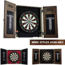 Barrington Bellevue Collection Premium Bristle Dartboard Cabinet Set: Professional Hanging Classic Sisal Dartboard with Self Healing Bristles and Accessories - 6 Steel Tip Darts